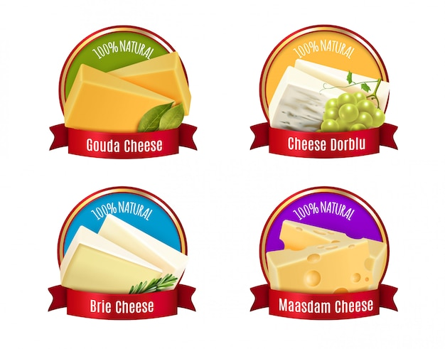 Realistic cheese labels set