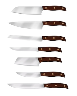 Realistic chef knife and kitchen knives