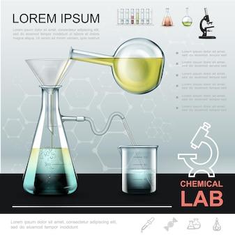 Modello di esperimento chimico realistico con liquido che versa dalla bottiglia alla fiaschetta di vetro e si sposta nel becher