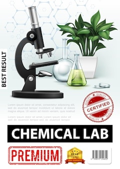 Реалистичный плакат химической лаборатории с микроскопом, стеклянная лабораторная колба, пробирки, завод и иллюстрация молекулярной структуры
