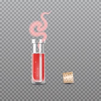 Realistic chemistry glass bottles of potion. love potion.  illustration.
