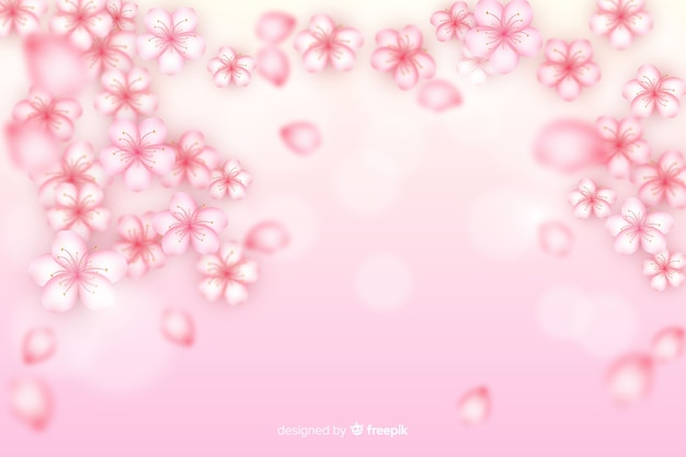 Realistic cherry flowers background
