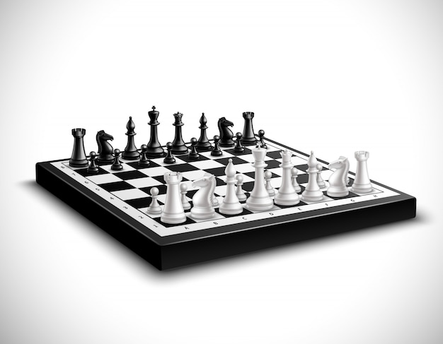 Realistic chess board with 3d black and white figures set