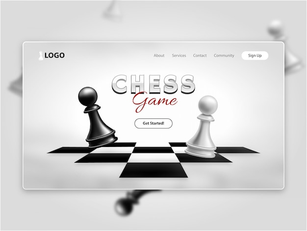 Realistic chess game landing page