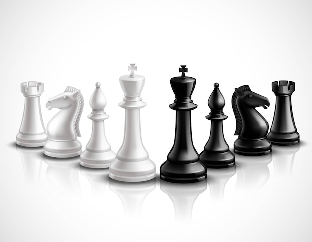 Realistic chess game pieces 3d icons set with reflection