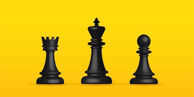 Реалистичные шахматы на желтом фоне, бизнес-стратегия и концепция управления