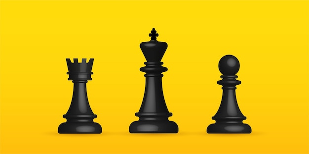 Realistic chess on yellow background, business strategy and management concept