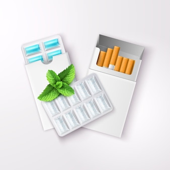 Realistic chewing gum in blister packaging and open pack of cigarettes with peppermint leaves
