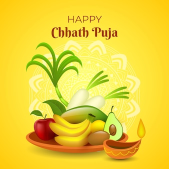 Realistic chhath puja with greeting