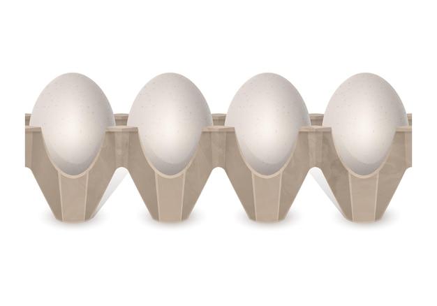 Realistic chicken eggs in carton egg box isolated