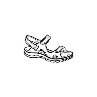 リアルな子サンダルで描かれたアウトライン落書きアイコン。靴、靴、子供、子供服、快適さの概念