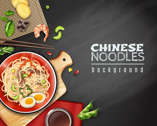 Realistic chinese noodles background