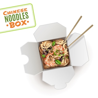 Realistic chinese noodles cardboard box