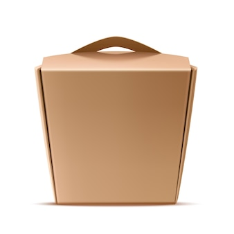 Realistic chinese noodles paper box container