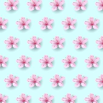 부드러운 푸른 하늘 배경에 현실적인 중국 핑크 사쿠라 패턴. 동양 섬유 디자인 서식 파일 꽃 꽃 봄 배경. 3d 자연 배경 그림