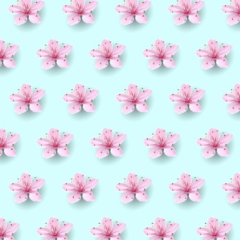 Realistic chinese pink sakura pattern on soft blue sky background. oriental textile design template flower blossom spring background. 3d nature backdrop illustration