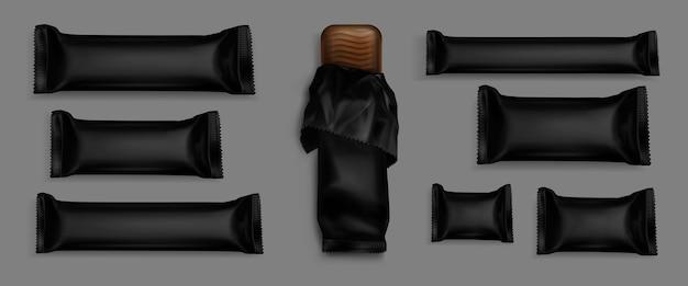Реалистичные упаковки шоколадных плиток