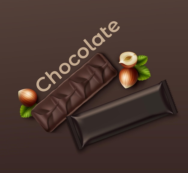 Realistic chocolate bar with nuts: packed and open on brown background