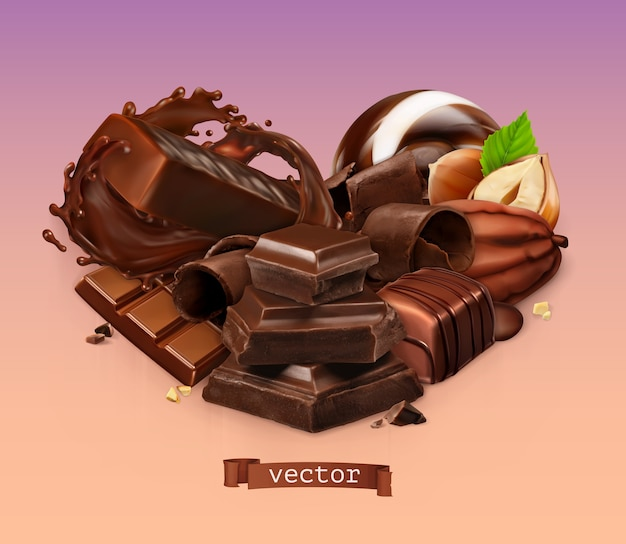Realistic chocolate. chocolate bar, splash, candy, pieces, shavings, cocoa bean and hazelnut.