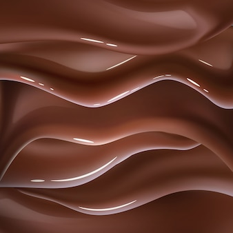 Realistic chocolate liquid wave background