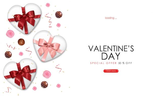 Реалистичный шоколад, роза, подарок, розовое конфетти, день святого валентина, вечеринка, розовый фон, концепция любви, романтическая открытка, баннер для продажи, день магазина