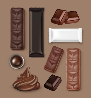Realistic chocolate set: bars, cream, candy, packed and open on light-brown background