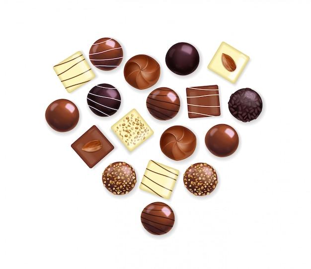 Реалистичный шоколадный набор, вкусный десерт, день святого валентина, любовь, вид сверху шоколадная коллекция пралине, иллюстрация черного и белого шоколада