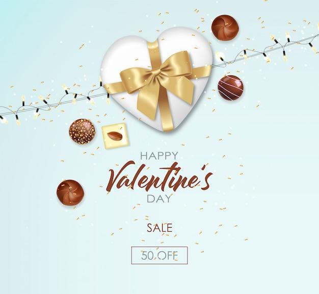 Реалистичный шоколадный набор, подарок, конфеты и огни, вкусный десерт, день святого валентина, любовь, вид сверху, коллекция шоколадных конфет, черно-белый шоколадный баннер