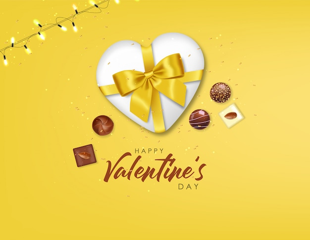 Реалистичный шоколадный набор, подарок, конфеты и огни, вкусный десерт, день святого валентина, любовь, вид сверху, коллекция шоколадных пралине, черный и белый шоколад