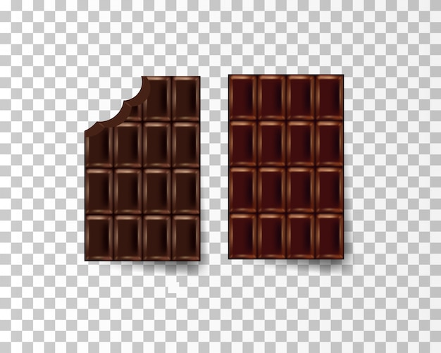 Realistic chocolate on the transparent background Premium Vector