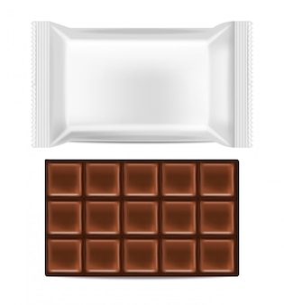 Realistic chocolate and white package isolated, delicious dessert, dark chocolate  illustration