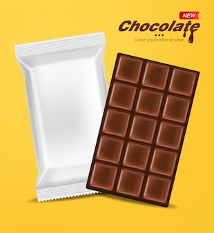 Realistic chocolate and white package isolated, delicious dessert, dark chocolate