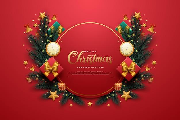 Реалистичная рождественская и новогодняя открытка с рождественскими подарками и огнями
