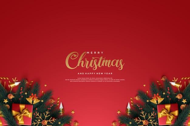 ギフトとベルが付いている現実的なクリスマスと新年のグリーティングカード