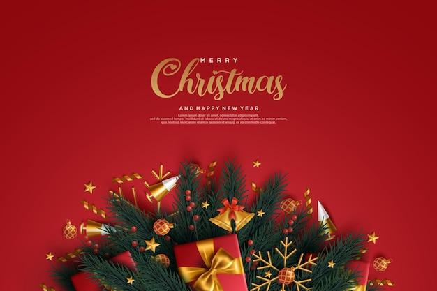 Реалистичная рождественская и новогодняя открытка с золотыми подарками и снежинками