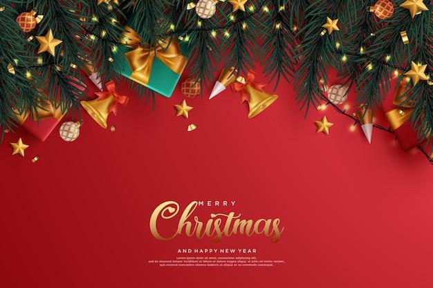 Реалистичные рождественские и новогодние открытки с подарками и ветками