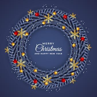 현실적인 크리스마스와 새 해 화 환 템플릿