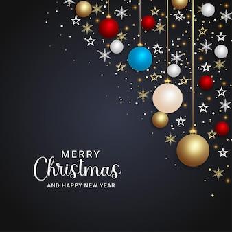 현실적인 크리스마스 배경 크리스마스 공 황금 별과 황금 눈송이