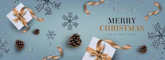 Realistic christmas background in elegant style