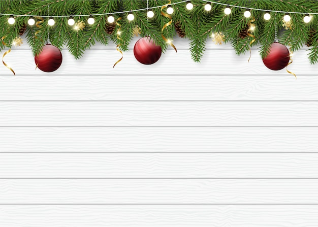 Realistic christmas background for greeting card