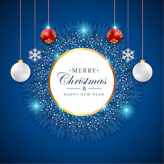 Реалистичный новогодний фон с синим светом и рождественским орнаментом