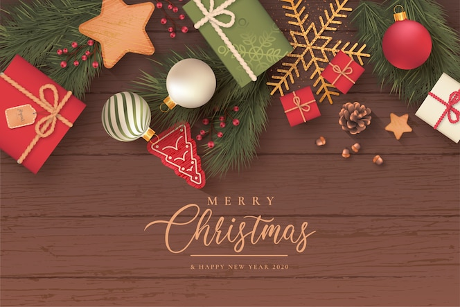Realistic christmas background with cute ornaments