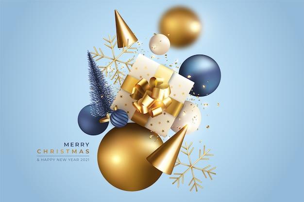 Реалистичный новогодний фон с летающими украшениями