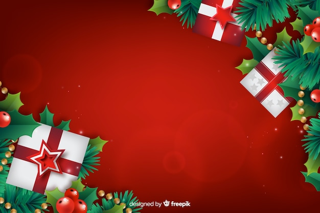 Realistic christmas background with gift boxes