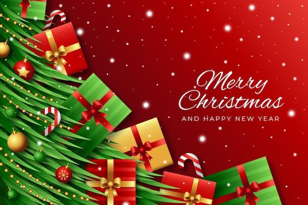 Реалистичный новогодний фон с подарками