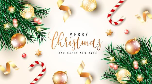 緑の枝と現実的なクリスマスの背景