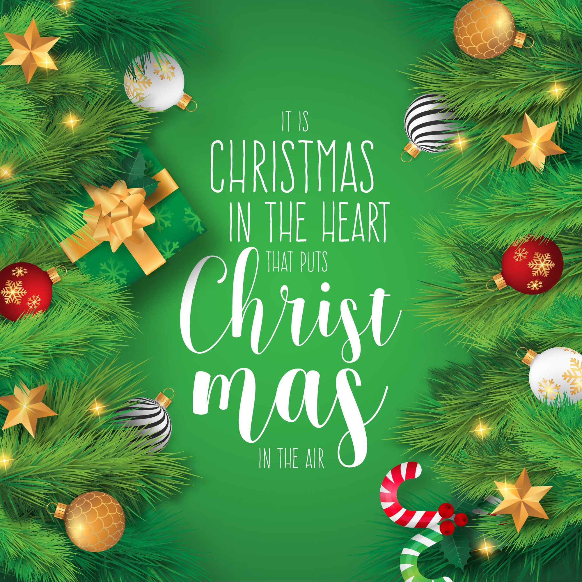 Realistic Christmas Background with Ornaments and Quote
