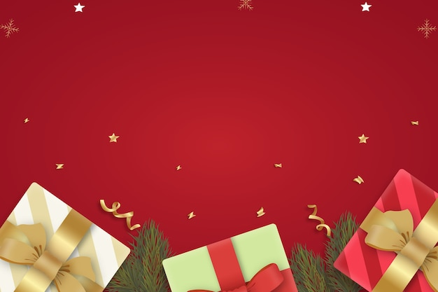 Realistic christmas background with presents and branches