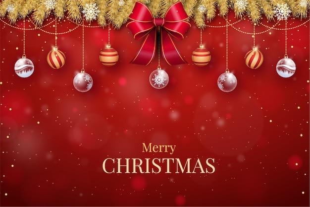 赤いリボンでリアルなクリスマスの背景