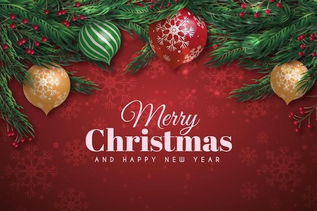 枝にスノードームと現実的なクリスマスの背景